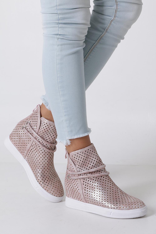 4cf4542b Różowe botki sneakersy wiosenne ażurowe na koturnie Jezzi ASA143-3  producent Jezzi