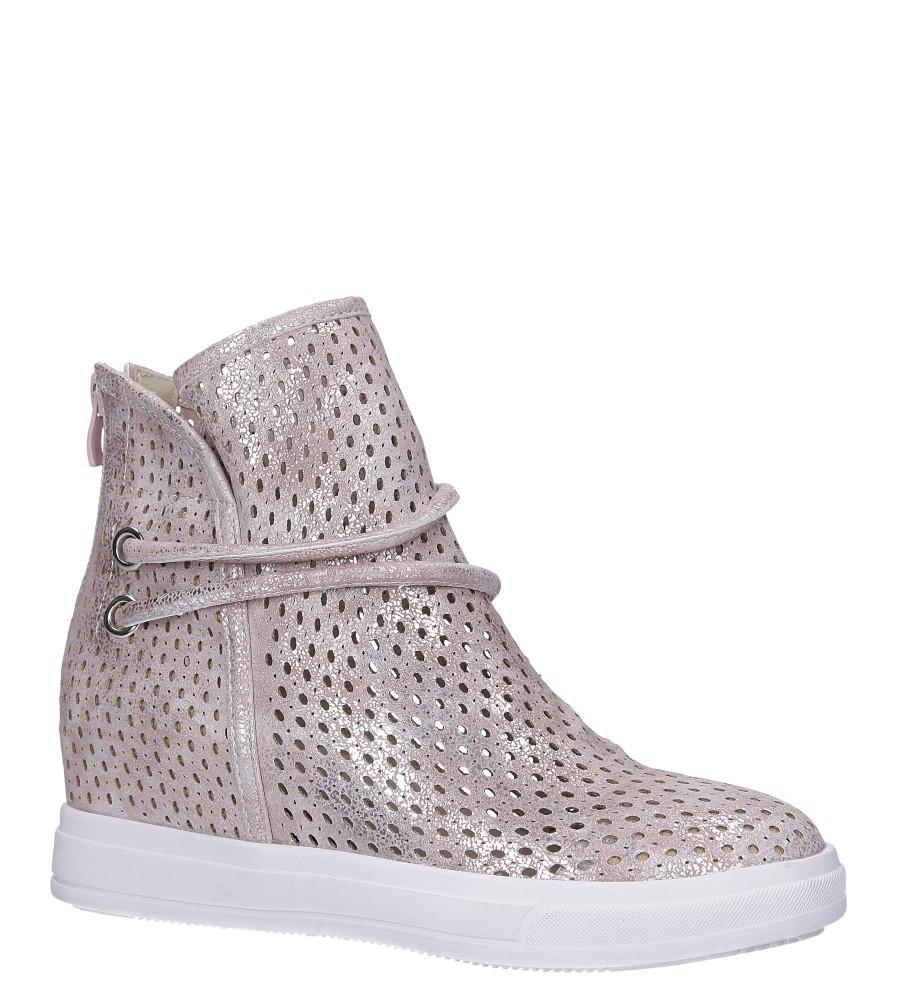 Różowe botki sneakersy wiosenne ażurowe na koturnie Jezzi ASA143-3