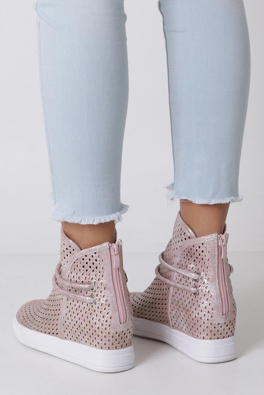 b32fad4f112e1 ... Różowe botki sneakersy wiosenne ażurowe na koturnie Jezzi ASA143-3  kolor różowy, srebrny ...
