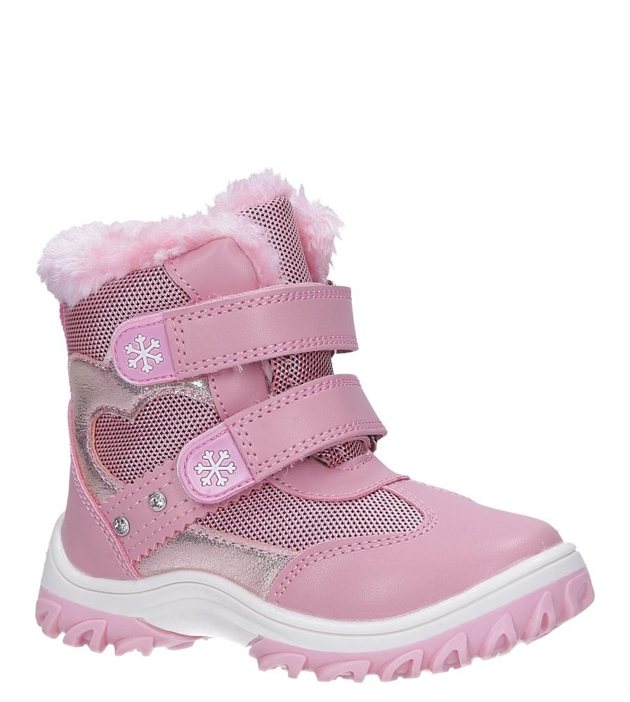 Różowe botki śniegowce na rzepy Casu 7028 model 7028