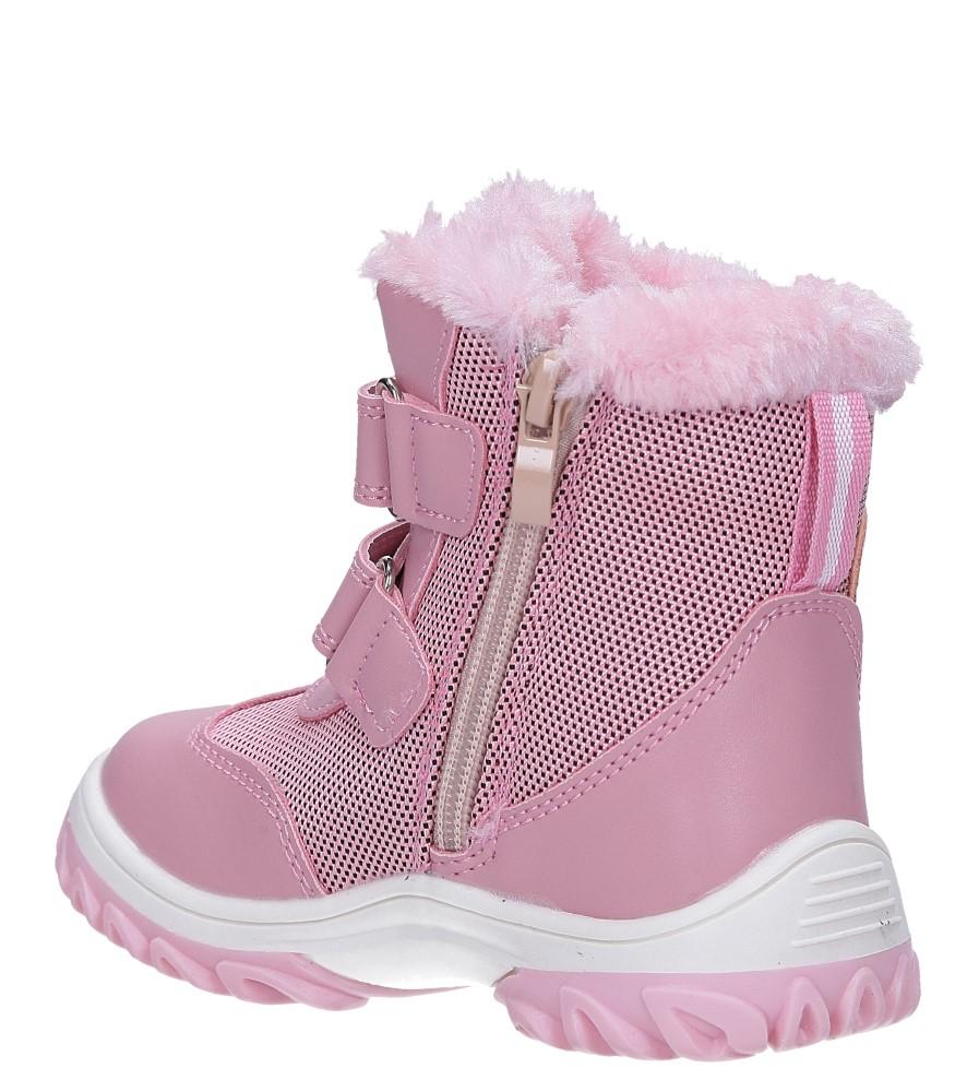 Różowe botki śniegowce na rzepy Casu 7028 wysokosc_obcasa 2.5 cm