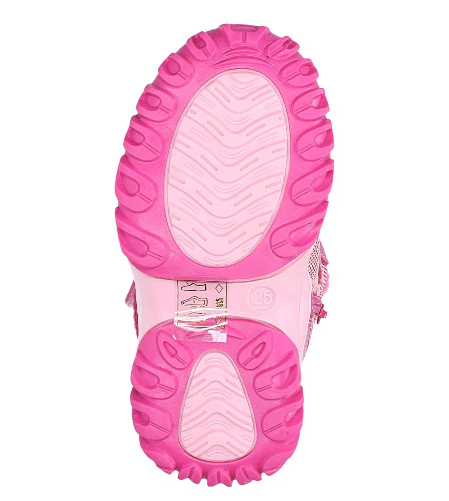 Różowe botki śniegowce na rzepy Casu 7028 wys_calkowita_buta 12 cm