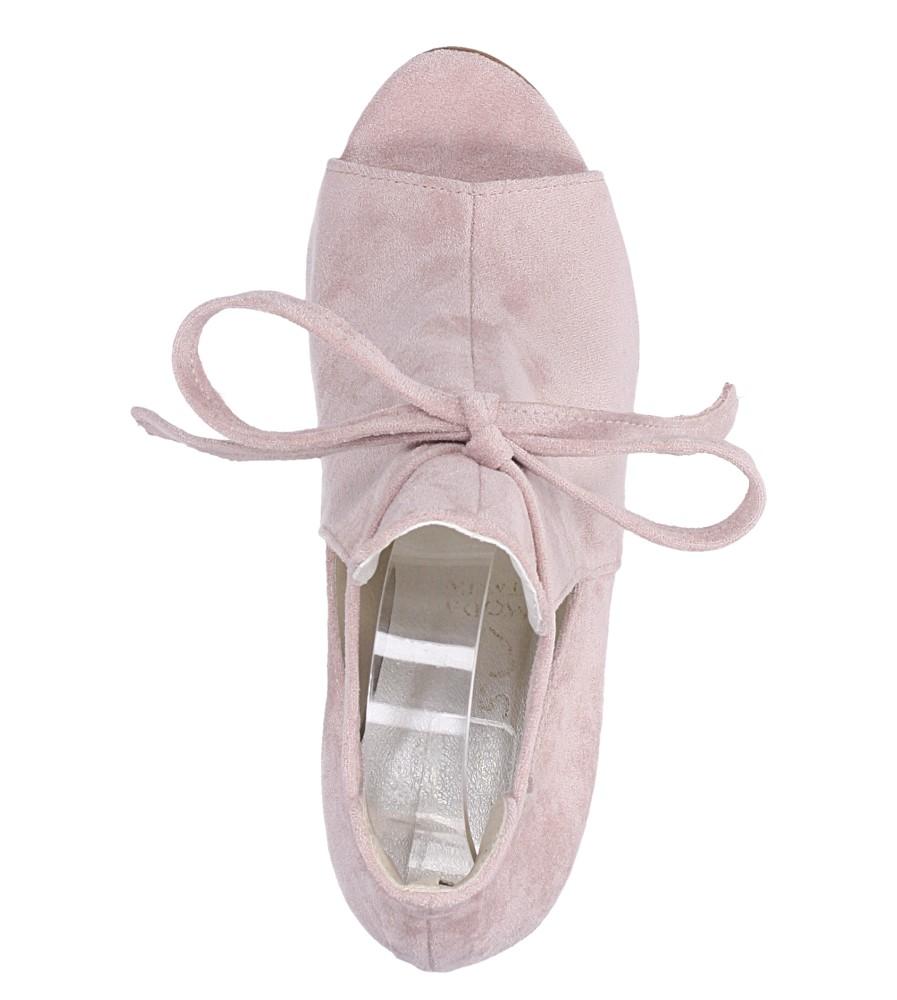 Różowe botki wiosenne peep toe na słupku z ozdobnym wiązaniem Casu 270 wys_calkowita_buta 18 cm