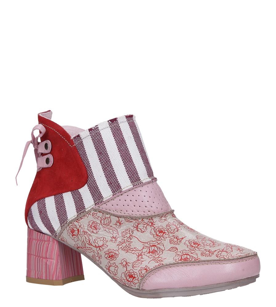 Różowe botki wiosenne skórzane na ozdobnym słupku Maciejka 03963-08/00-5