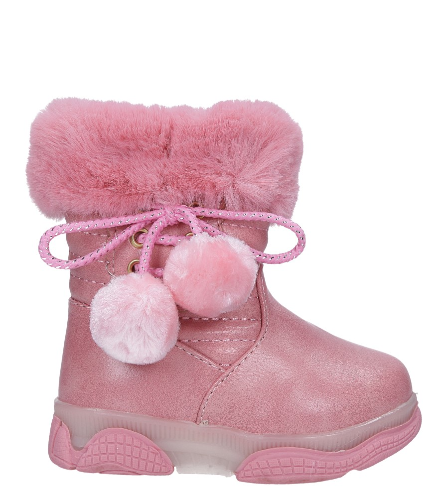 Różowe botki z futerkiem i pomponami Casu X802A kolor jasny różowy