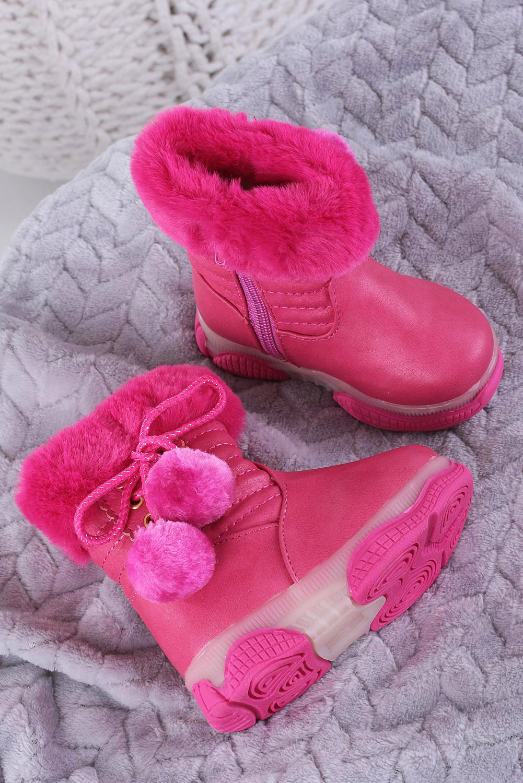 Różowe botki z futerkiem i pomponami Casu X802A