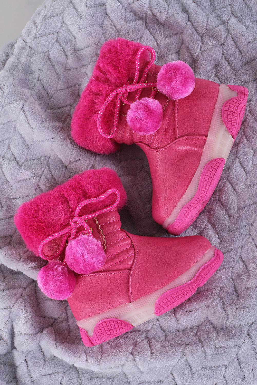 Różowe botki z futerkiem i pomponami Casu X802A sezon Zima