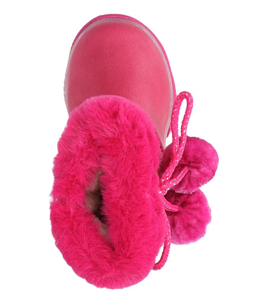 Różowe botki z futerkiem i pomponami Casu X802A wys_calkowita_buta 14 cm