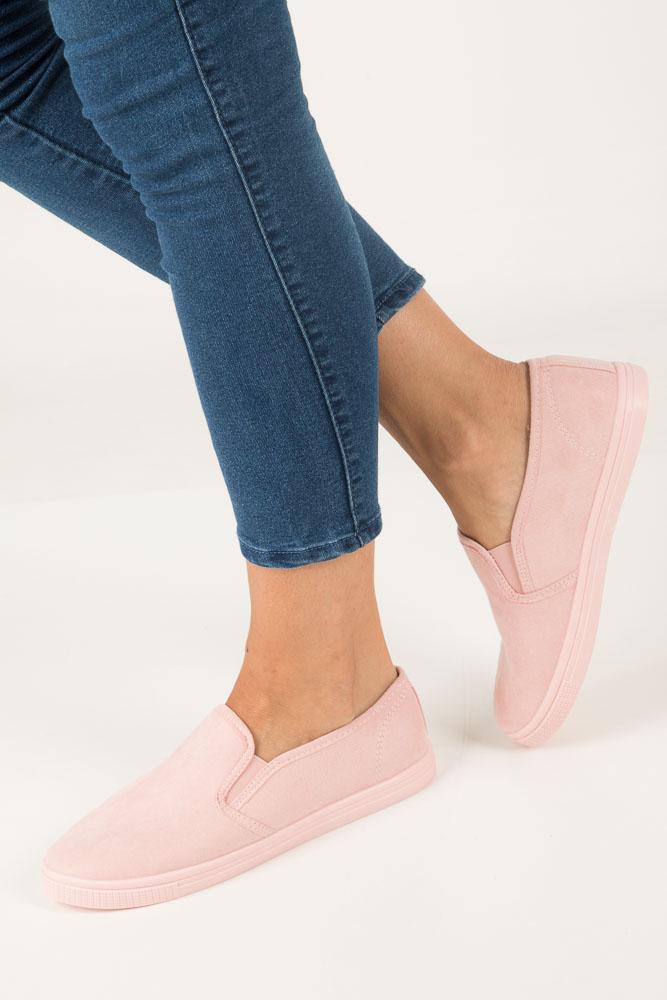 Różowe buty slip on Casu DD1817-6