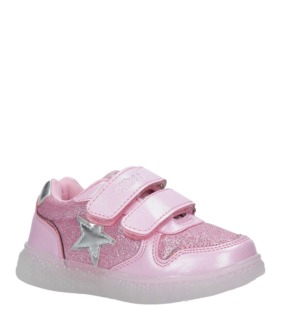 Różowe buty sportowe brokatowe na rzepy ze skórzaną wkładką Casu F-731 producent Casu