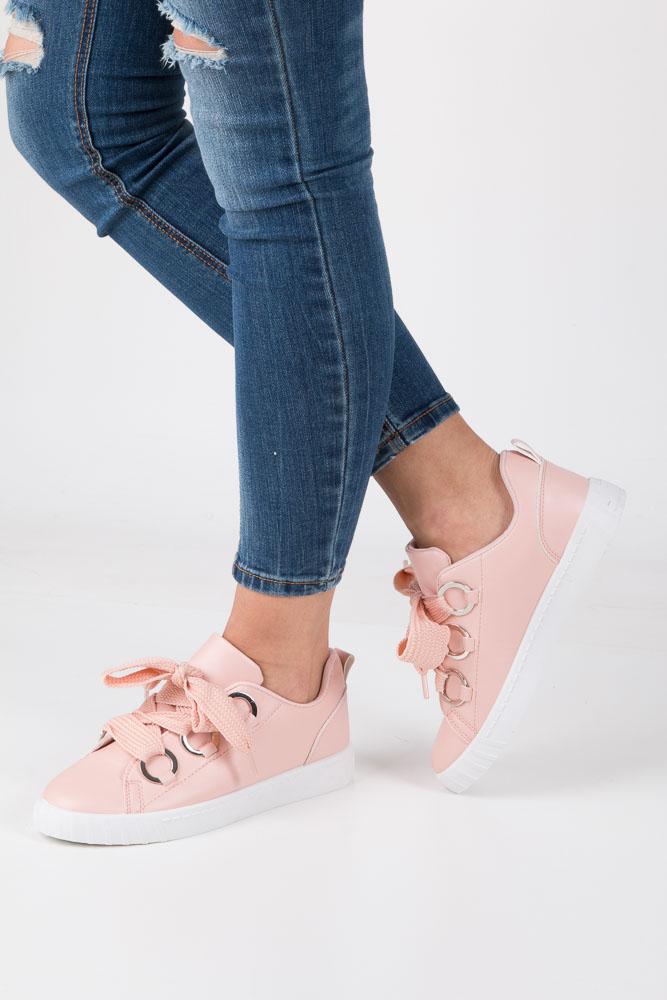 Różowe buty sportowe creepersy na platformie sznurowane Casu AB-67
