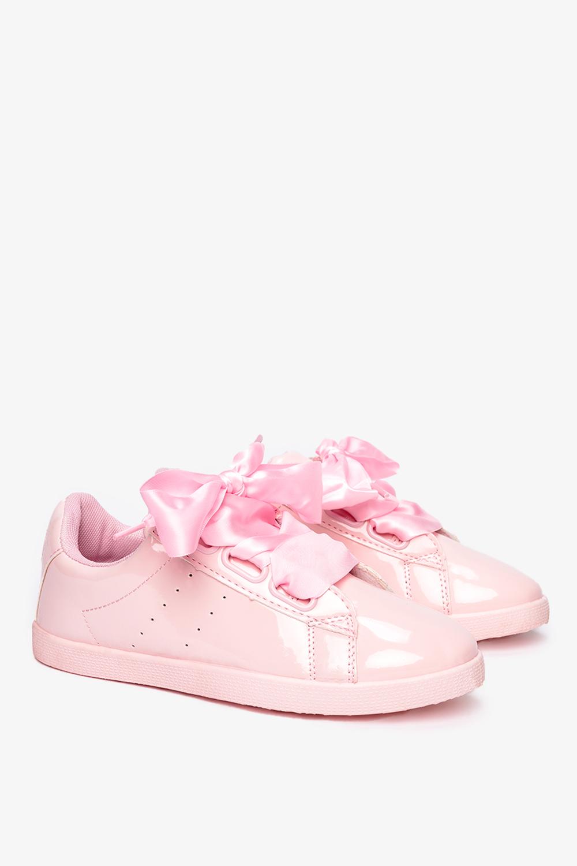 Różowe buty sportowe lakierowane sznurowane Casu AM-9103