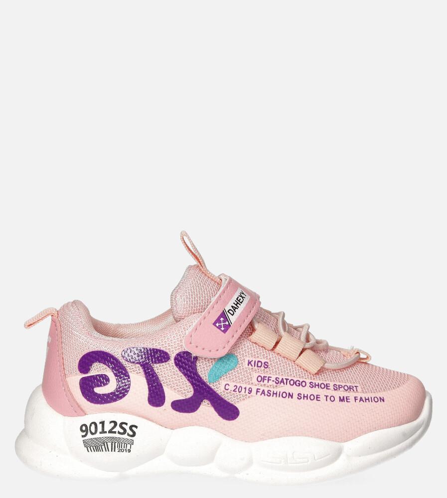 Różowe buty sportowe na rzep Casu 204/8M różowy