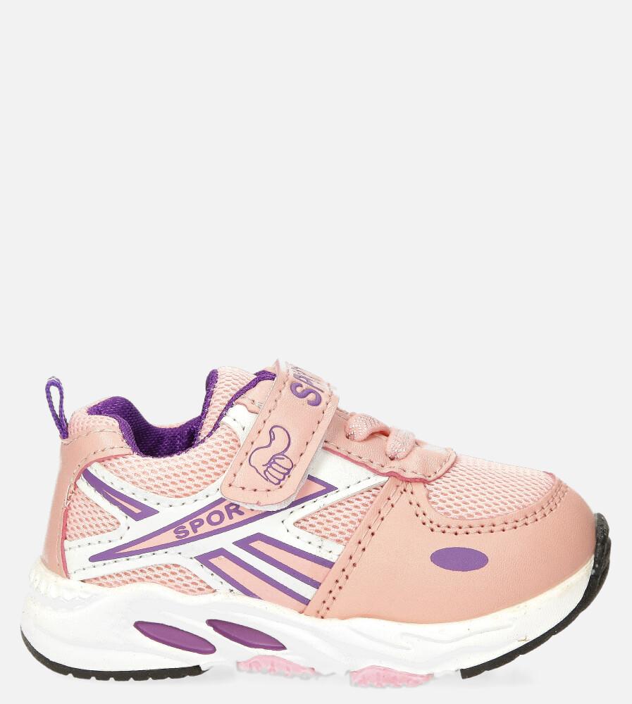 Różowe buty sportowe na rzep Casu 20P15/M