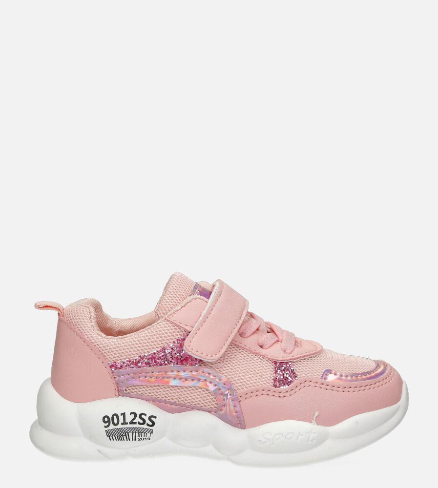 Różowe buty sportowe na rzep Casu 20P9/M sezon Całoroczny