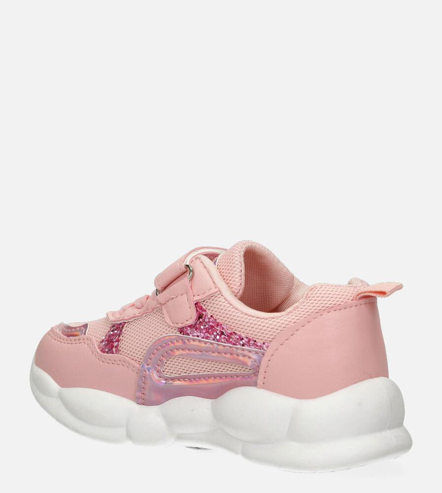 Różowe buty sportowe na rzep Casu 20P9/M kolor jasny różowy