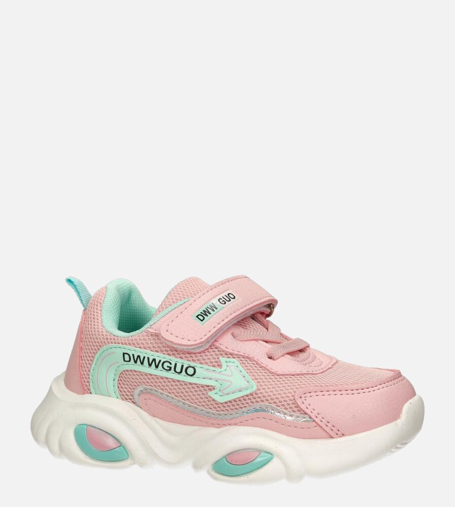 Różowe buty sportowe na rzep Casu 20T6/M różowy
