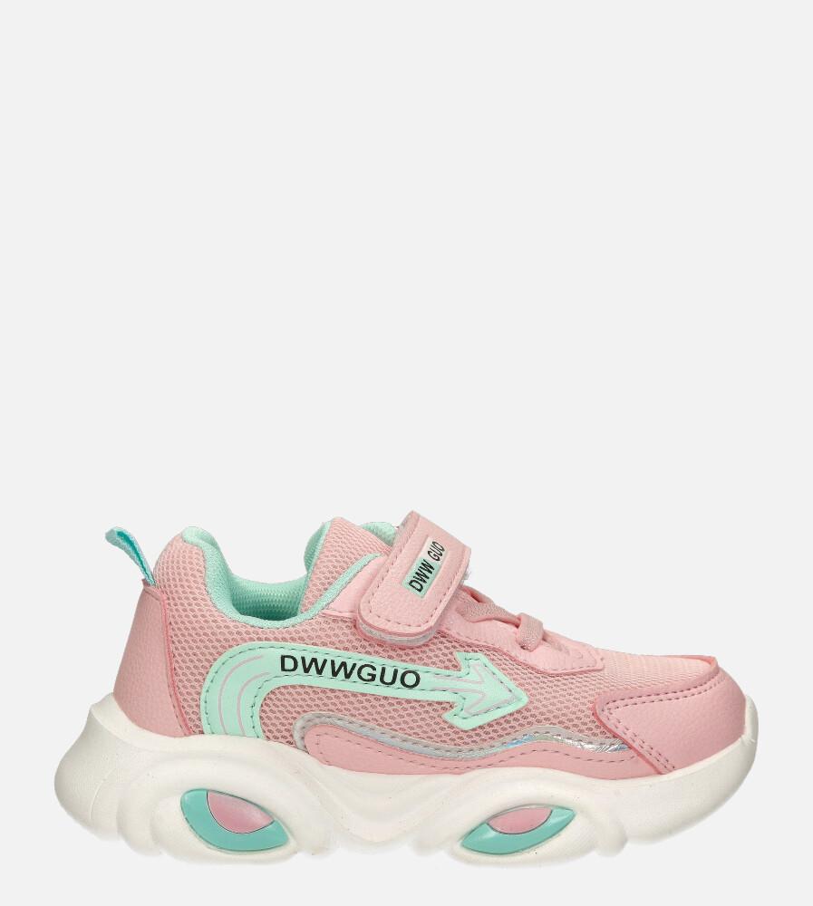 Różowe buty sportowe na rzep Casu 20T6/M  model 20T6/M/5511
