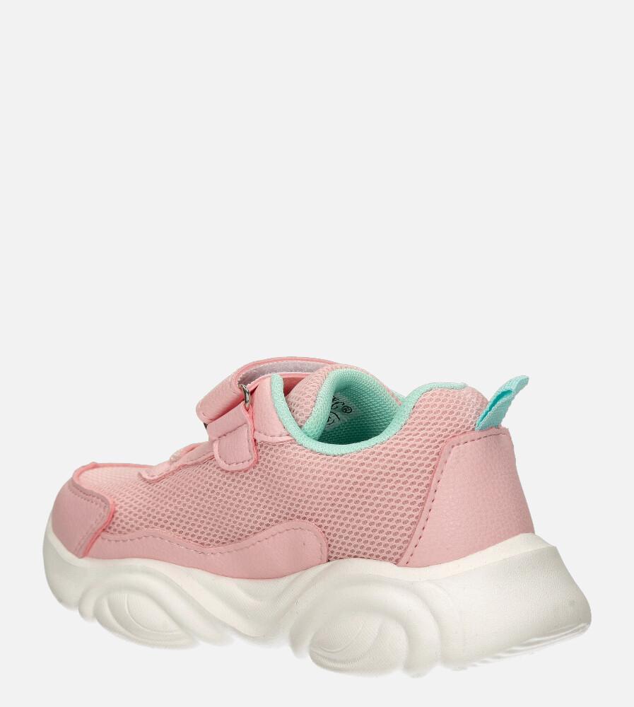 Różowe buty sportowe na rzep Casu 20T6/M  sezon Całoroczny