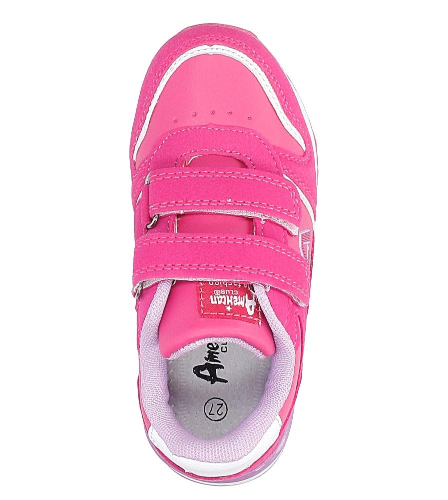 Różowe buty sportowe na rzepy American 13 wysokosc_platformy 1 cm
