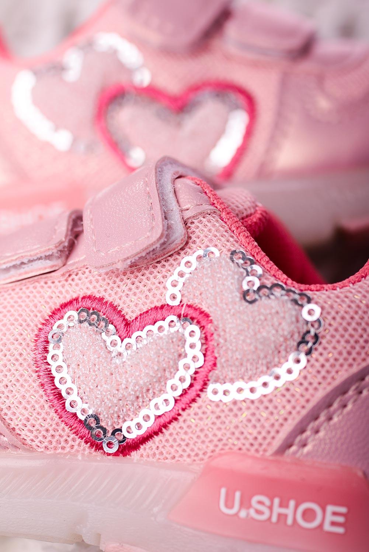Różowe buty sportowe na rzepy Casu X506A