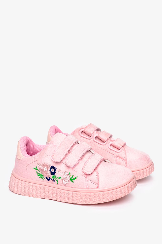 Różowe buty sportowe na rzepy z haftowanym kwiatkiem Casu 666-27