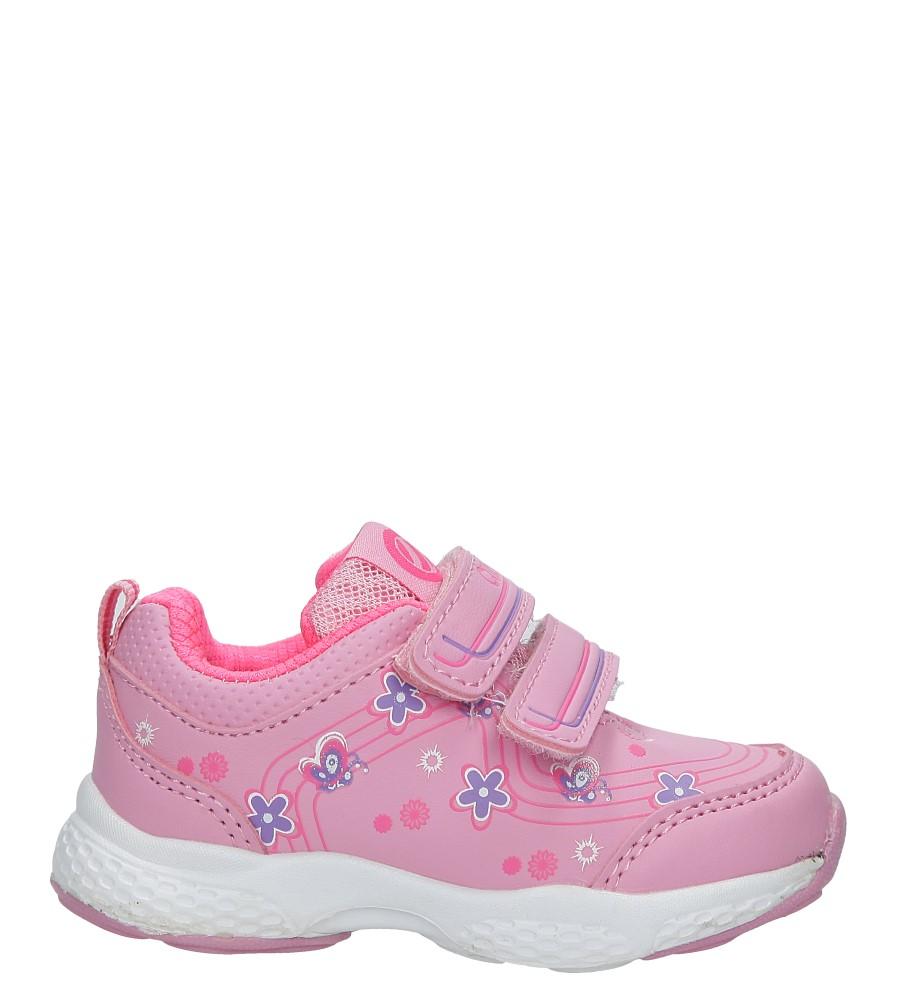 Różowe buty sportowe na rzepy z kwiatkami Casu F-708