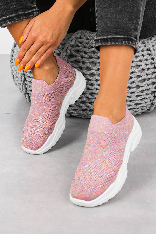 Różowe buty sportowe slip on Casu H663-1908 różowy