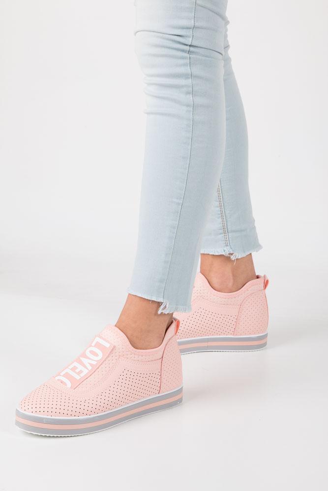 Różowe buty sportowe sneakersy na platformie Casu K5108 różowy