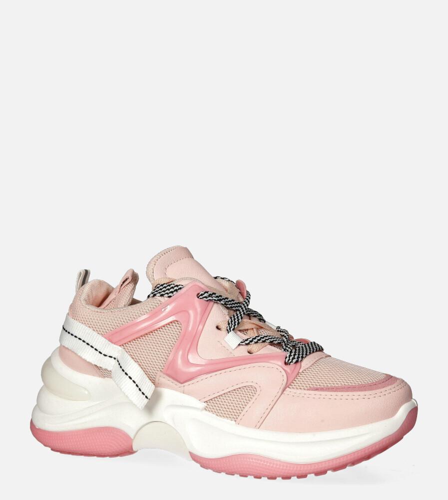 Różowe buty sportowe sneakersy sznurowane Casu 20G10/P różowy