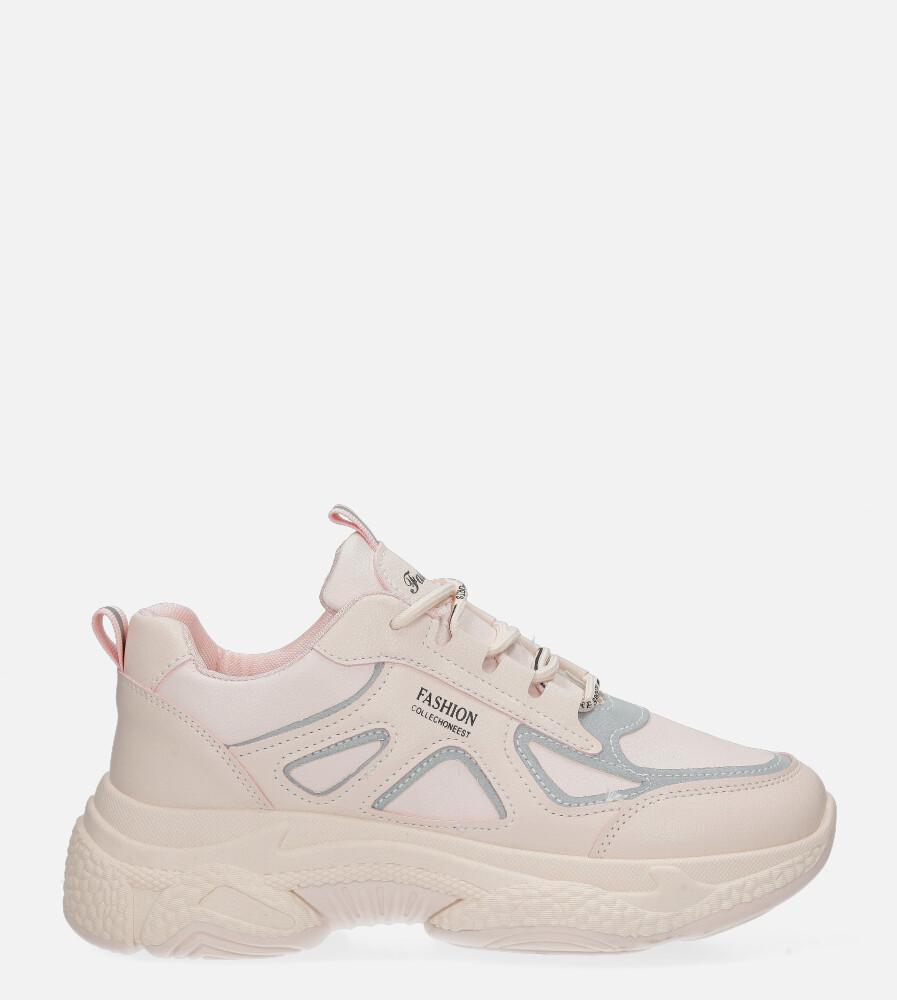 Różowe buty sportowe sneakersy sznurowane Casu 20H2/P jasny różowy