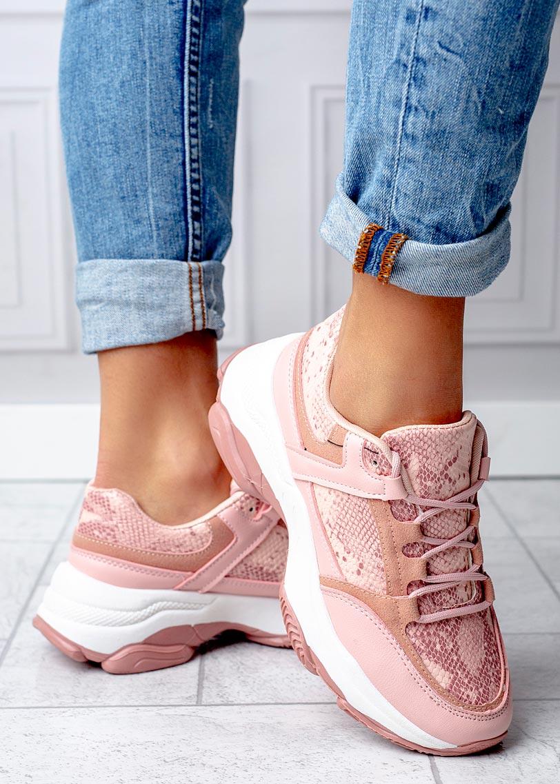 Różowe buty sportowe sneakersy sznurowane Casu DS13002 różowy