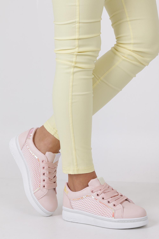Różowe buty sportowe sneakersy sznurowane z siateczką Casu 7-K682C