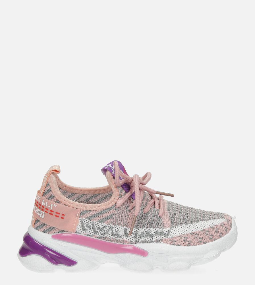Różowe buty sportowe sznurowane Casu 2-21
