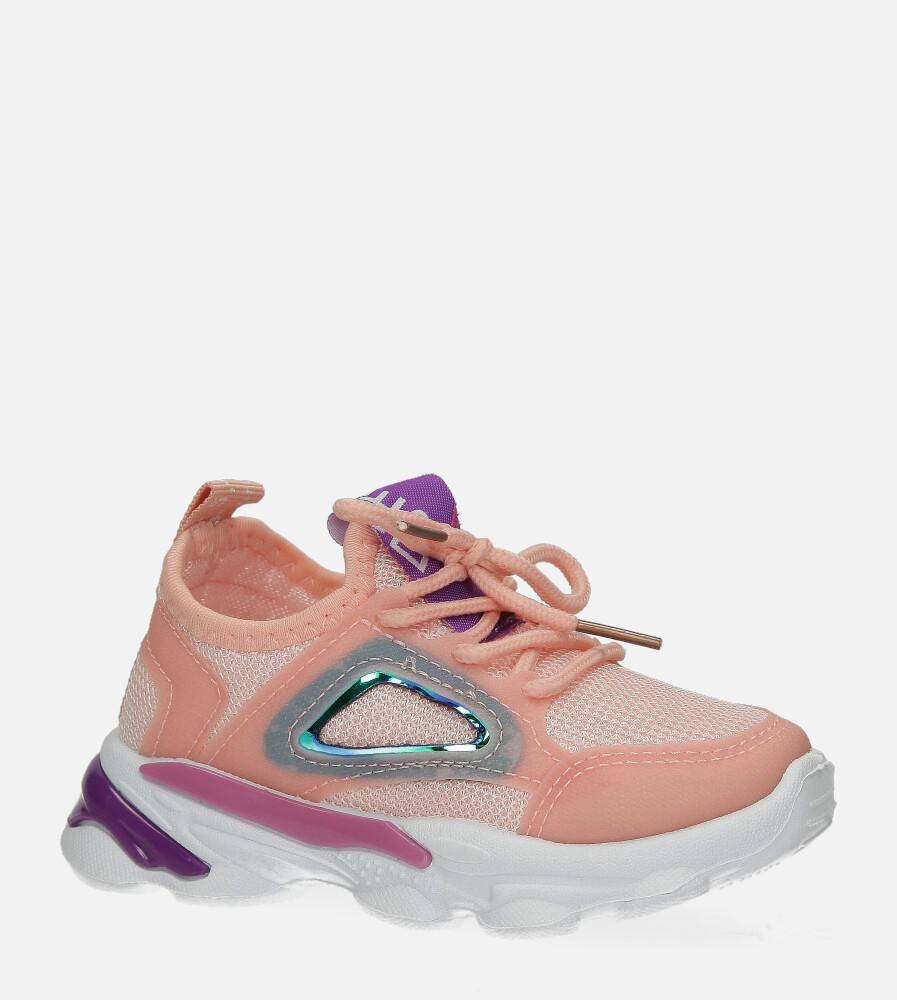 Różowe buty sportowe sznurowane Casu 2-23