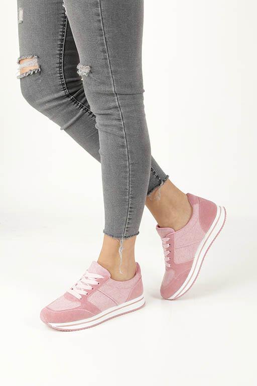 Różowe buty sportowe sznurowane Casu HR61225