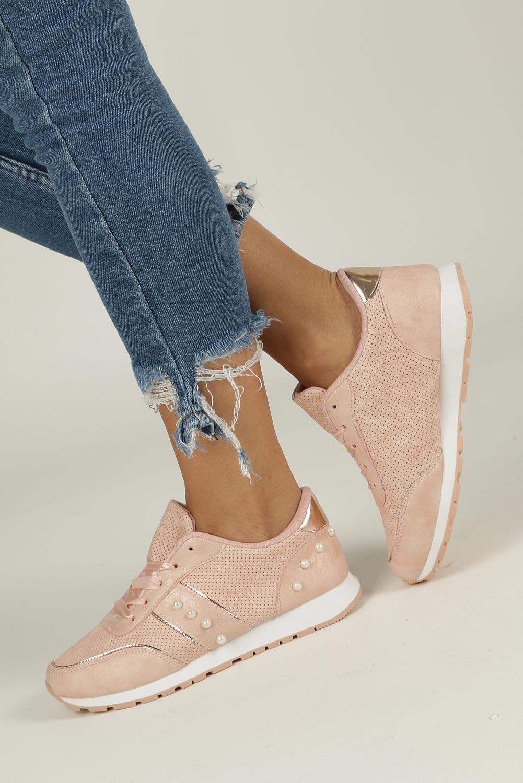 Różowe buty sportowe z perełkami wiązane wstążką Casu C928-30