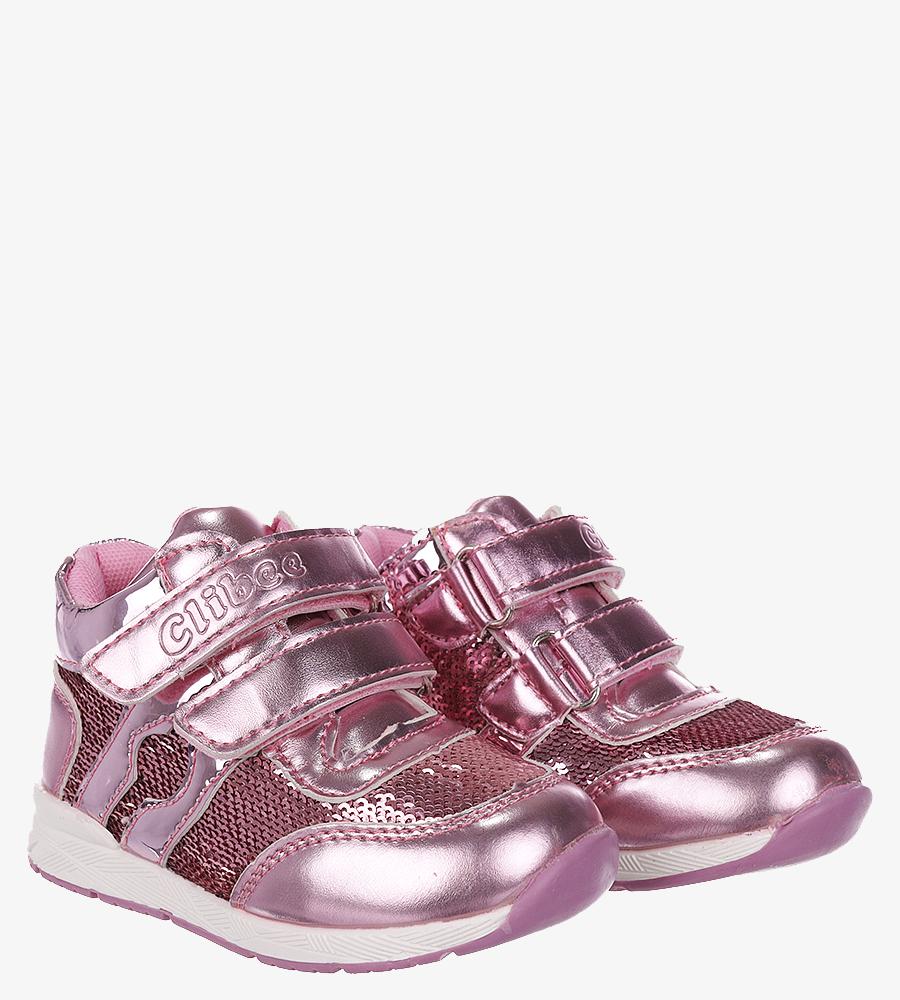 Różowe buty sportowe ze skórzaną wkładką na rzep Casu F-737 producent Casu