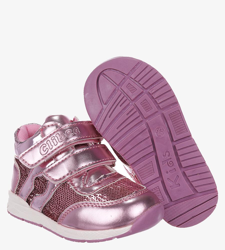 Różowe buty sportowe ze skórzaną wkładką na rzep Casu F-737 sezon Całoroczny