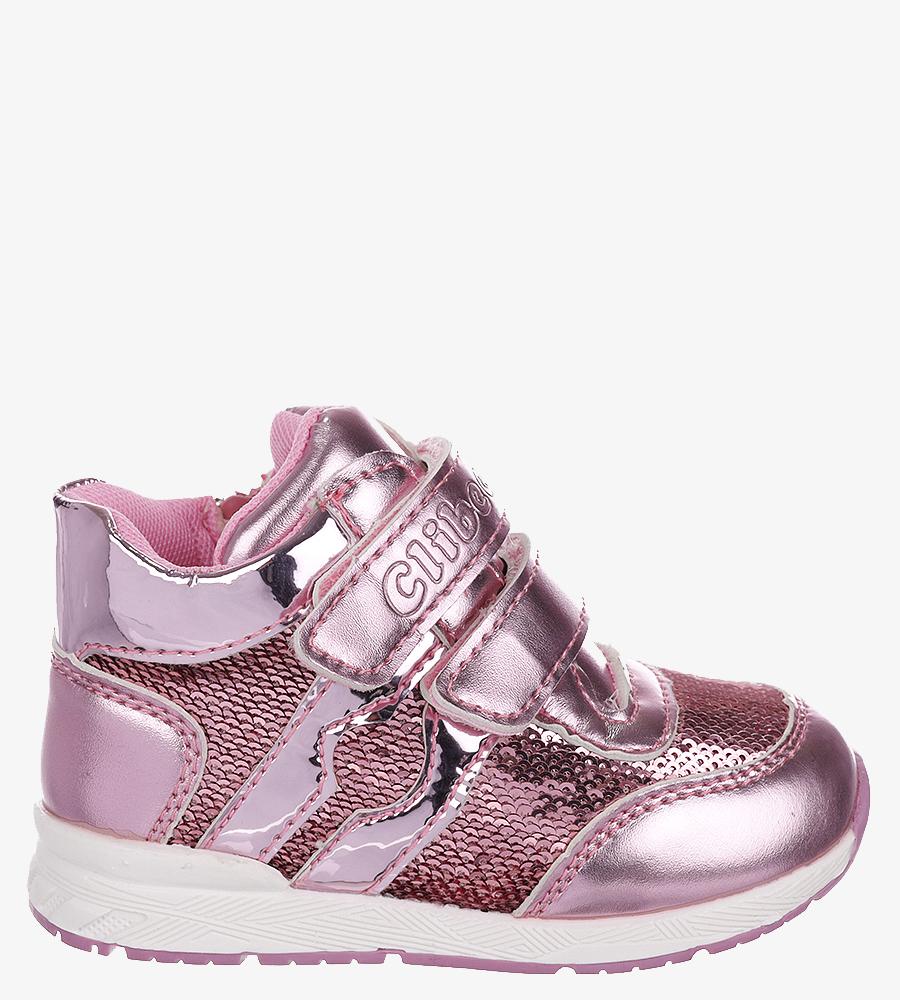 Różowe buty sportowe ze skórzaną wkładką na rzep Casu F-737 kolor różowy