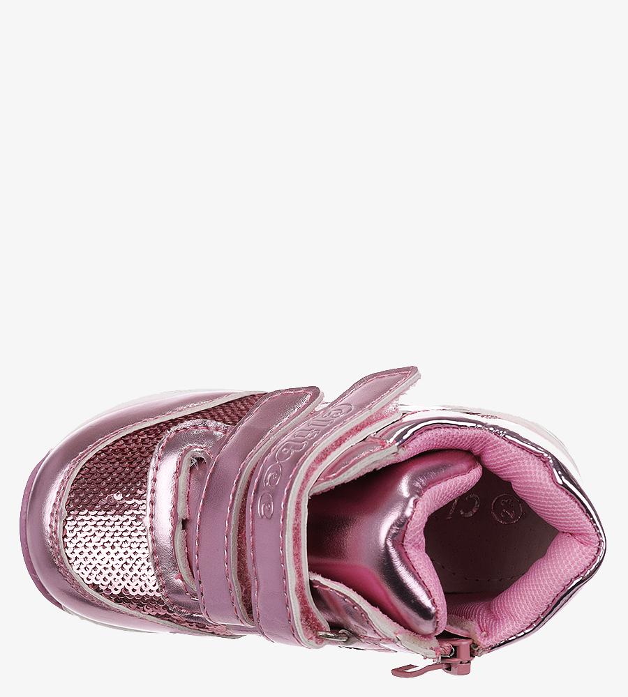 Różowe buty sportowe ze skórzaną wkładką na rzep Casu F-737 wysokosc_obcasa 2 cm