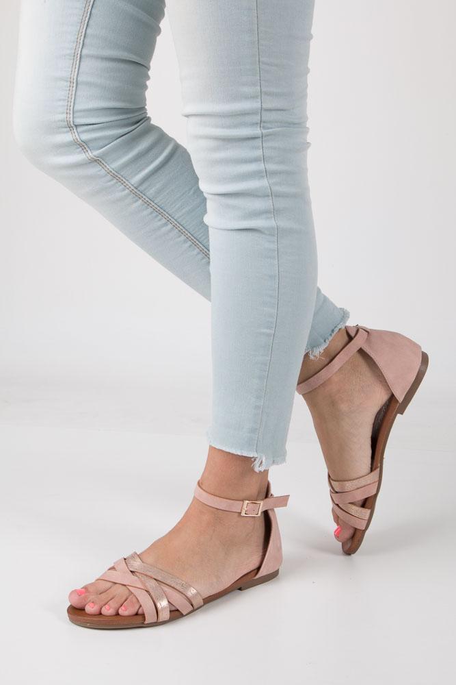 Różowe eleganckie sandały z zakrytą piętą Casu K18X9/P