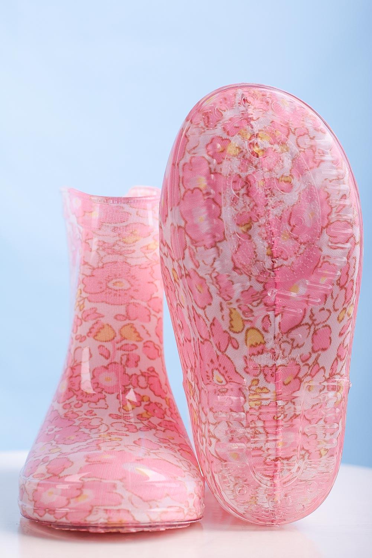 Różowe kalosze w kwiatki Casu HQ-108 różowy