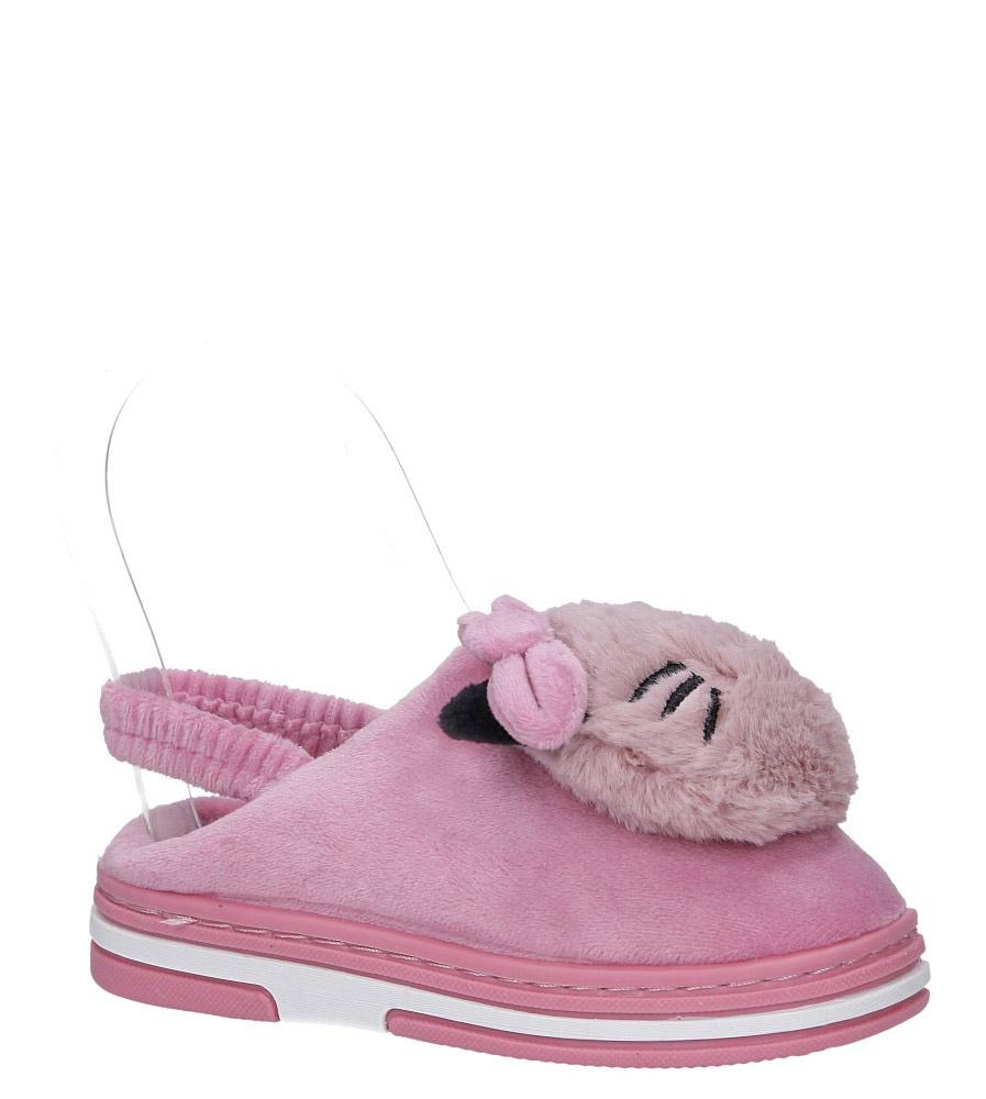 Różowe kapcie futerkowe kotek z gumką Casu K-7