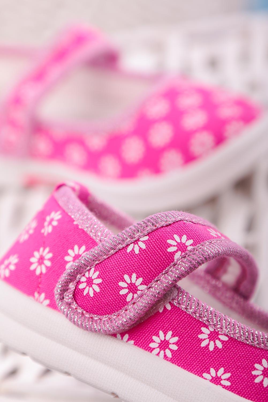 Różowe kapcie w kwiatki na rzep Casu ZC39 kolor różowy