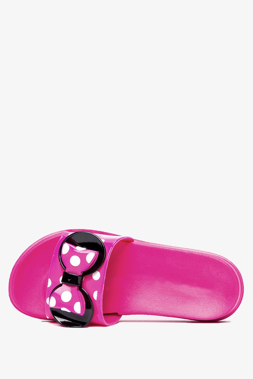 Różowe klapki Casu z kokardką w białe groszki 7001C-1