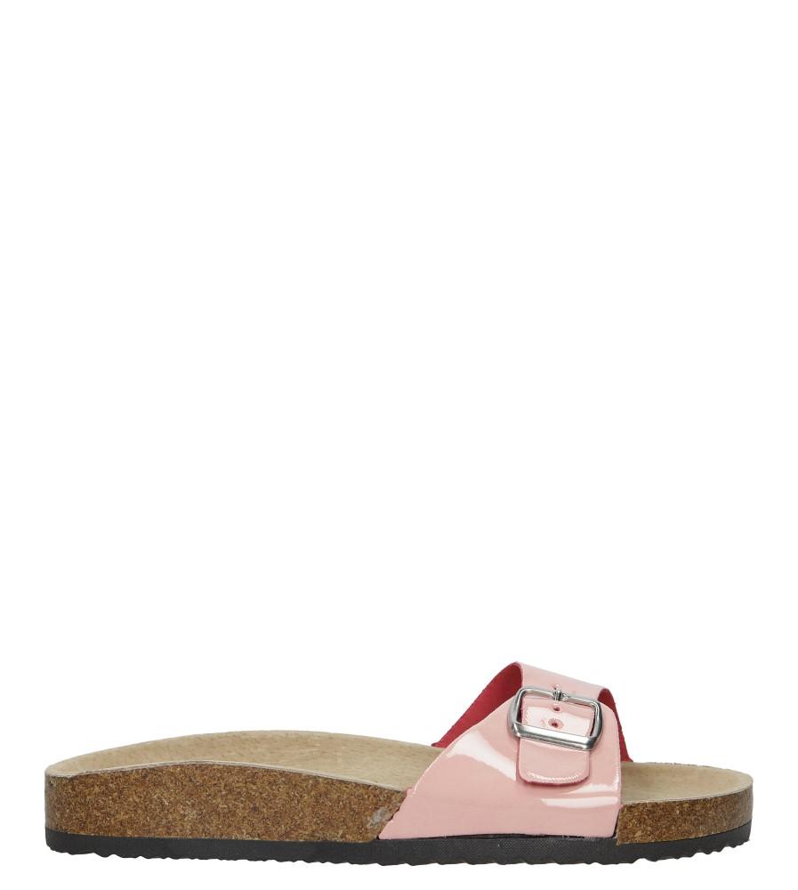Różowe klapki damskie z jednym paskiem z komfortową skórzaną wkładką i profilowaną korkową podeszwą Casu B18X3/PP sezon Lato