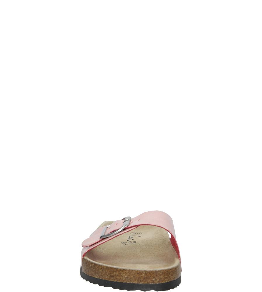 Różowe klapki damskie z jednym paskiem z komfortową skórzaną wkładką i profilowaną korkową podeszwą Casu B18X3/PP kolor różowy