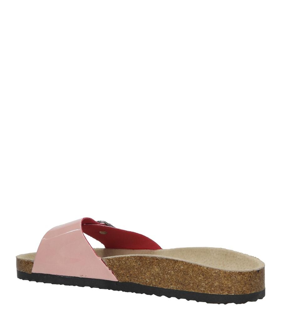 Różowe klapki damskie z jednym paskiem z komfortową skórzaną wkładką i profilowaną korkową podeszwą Casu B18X3/PP wysokosc_obcasa 2.5 cm