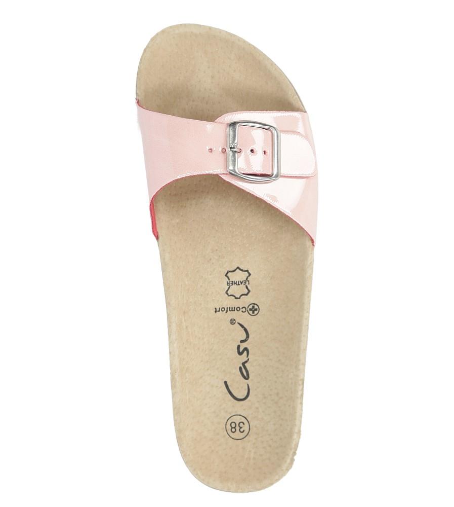 Różowe klapki damskie z jednym paskiem z komfortową skórzaną wkładką i profilowaną korkową podeszwą Casu B18X3/PP wysokosc_platformy 2 cm